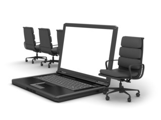 Laptop and chairs on white background
