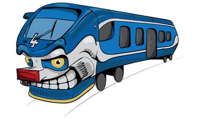 Blue cartoon train with smile