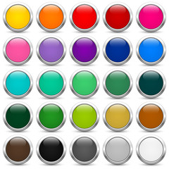 Set of colored buttons on a white background