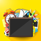 School flat design background with supplies and empty blackboard