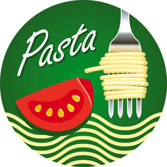 pasta and tomato on green background