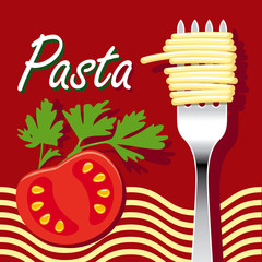 pasta and tomato on red background