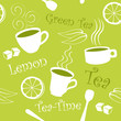 Seamless green tea and lemon pattern