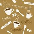 Seamless coffee and sugar pattern