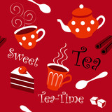 Seamless black tea and cake pattern