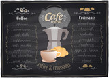 Vintage chalk coffee and croissants menu. Eps10