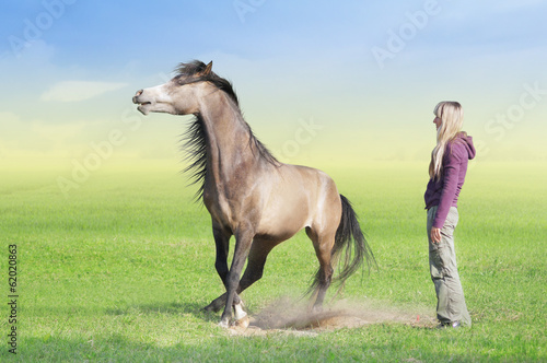 Woman in lilac sweater and playing horse on summer meadow
