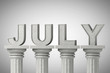 July month sign on a classic columns