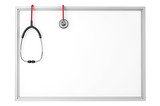A blank whiteboard with a stethoscope