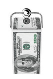 Roll of 100 dollars bills as a toilet paper on chrome holder
