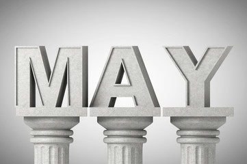 May month sign on a classic columns
