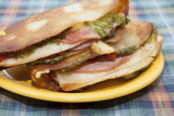 Mexican tortilla with ham and vegetables.