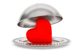 Love concept. Silver Restaurant cloche with heart