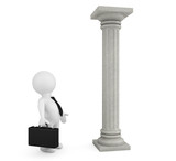 3d businessman with classic column