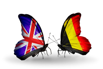Two butterflies with flags UK and Belgium