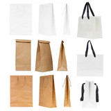 Set of blank shopping bags isolated on a white background