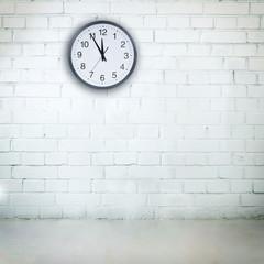 Vintage empty room with a clock. Room interior
