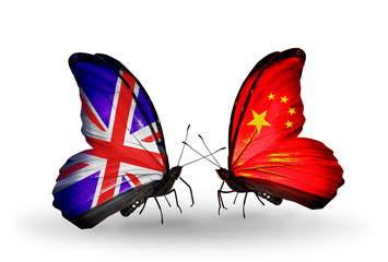 Two butterflies with flags UK and China