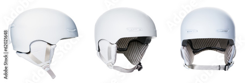 Set of white helmets isolated on white background