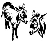 cute donkey vector outline