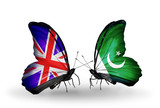 Two butterflies with flags UK and Pakistan