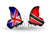 Two butterflies with flags UK and Trinidad and Tobago