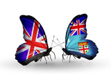 Two butterflies with flags UK and Fiji
