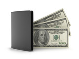 Leather wallet and dollar bills on white background