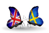 Two butterflies with flags UK and Sweden
