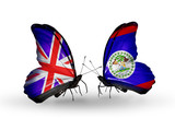 Two butterflies with flags UK and Finland