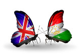 Two butterflies with flags UK  and Tajikistan