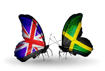 Two butterflies with flags UK and Jamaica