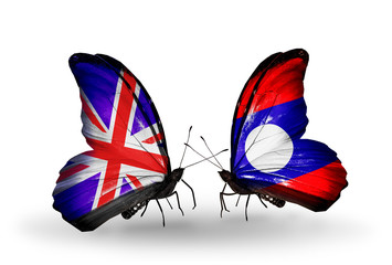 Two butterflies with flags UK and Laos