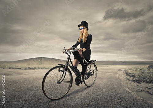 cycling elegant girl