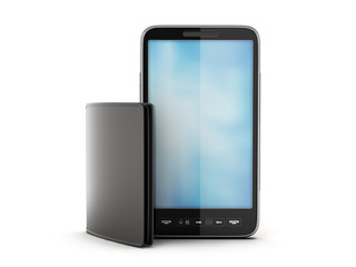 Modern cell phone and black leather wallet on white background