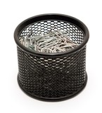 Paper clips in the black metal office pot on a white background.