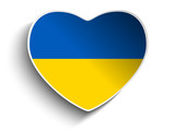 Ukraine Flag Heart Paper Sticker