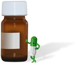 Brown bottle with label and green pill smiling