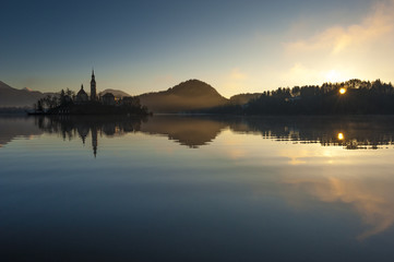 Bled lake on winter morning