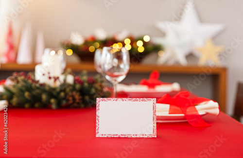 Red Christmas dinner table setup