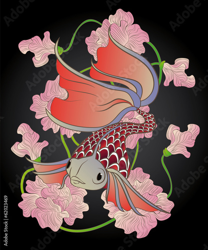 red fish swims among Roseau Colors