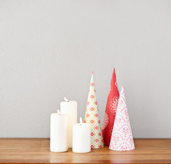 Paper cones and candles