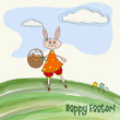 Easter greeting card with funny doe
