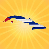 Cuba map flag on sunburst illustration