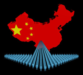 Arrow of people with China map flag illustration