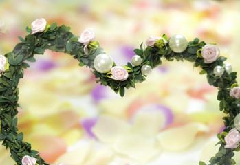 wedding -  hear of fabric flowers