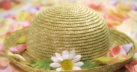 spring straw hat with flower