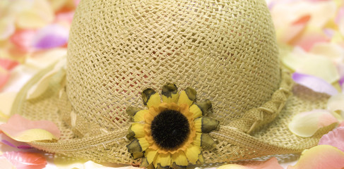 summer straw hat with flower