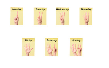 numbering days of the week with  fingers on pieces of paper