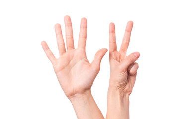 isolated hand shows  with fingers number seven